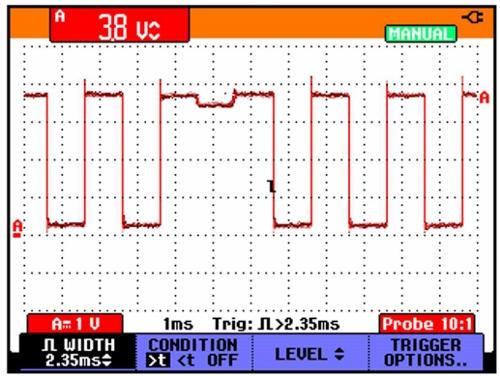 Spouštění šíří pulzu uměřicího přístroje Fluke ScopeMeter® řady 190 obr6-4.jpg