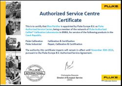 Fluke certifikát autorizovaný servis