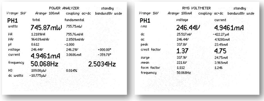 Obrazovky vrežimu analyzátoru výkonu aRMS voltmetru (měření 1 z20 cyklů)