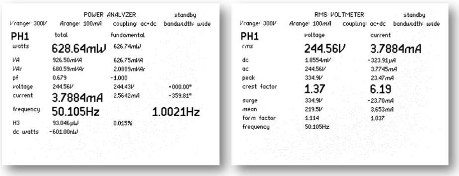 Obrazovky vrežimu analyzátoru výkonu aRMS voltmetru (měření 1 z50 cyklů)