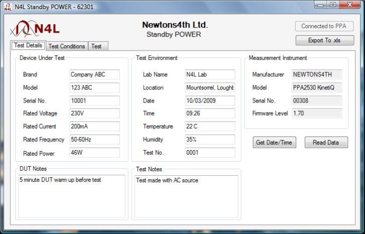 Obrazovka programu Standby POWER - detaily testu