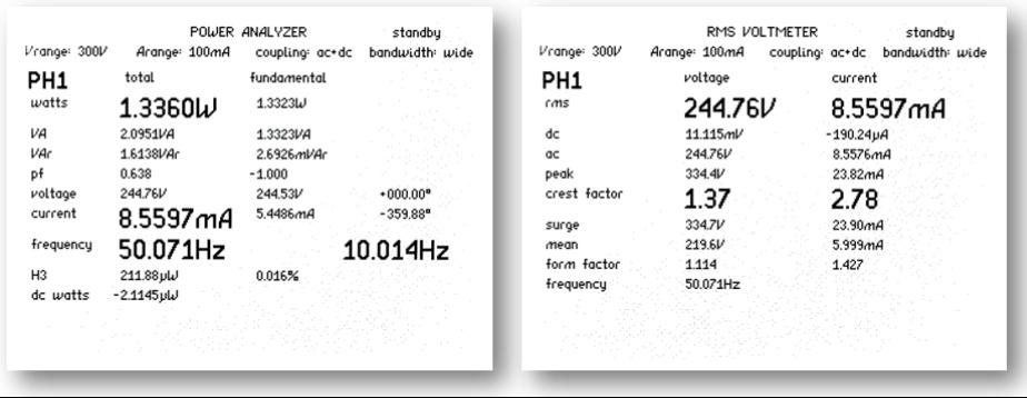 Obrazovky vrežimu analyzátoru výkonu aRMS voltmetru (měření 1 z5 cyklů)