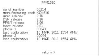 Obrazovka informací o systému analyzátoru výkonu PPA1520