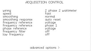 Obrazovka nastavení měření analyzátoru výkonu PPA1520
