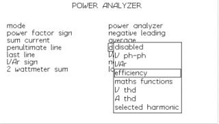 Obrazovka nastavení režimu analyzátoru výkonu PPA1520