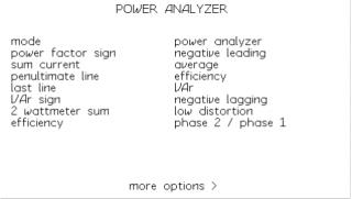 Obrazovka nastavení režimu analyzátoru výkonu - další krok