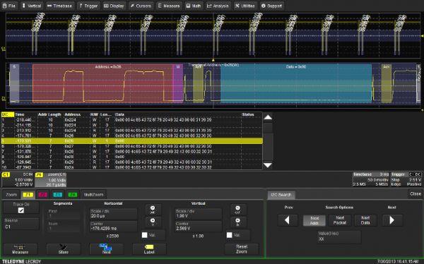 Dekodéry sériových zberníc I2C, SPI aUART-RS232 pre osciloskopy Teledyne LeCroy
